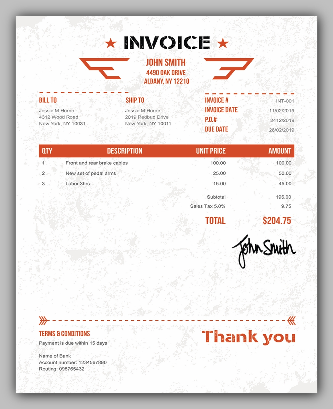 blank invoice template military
