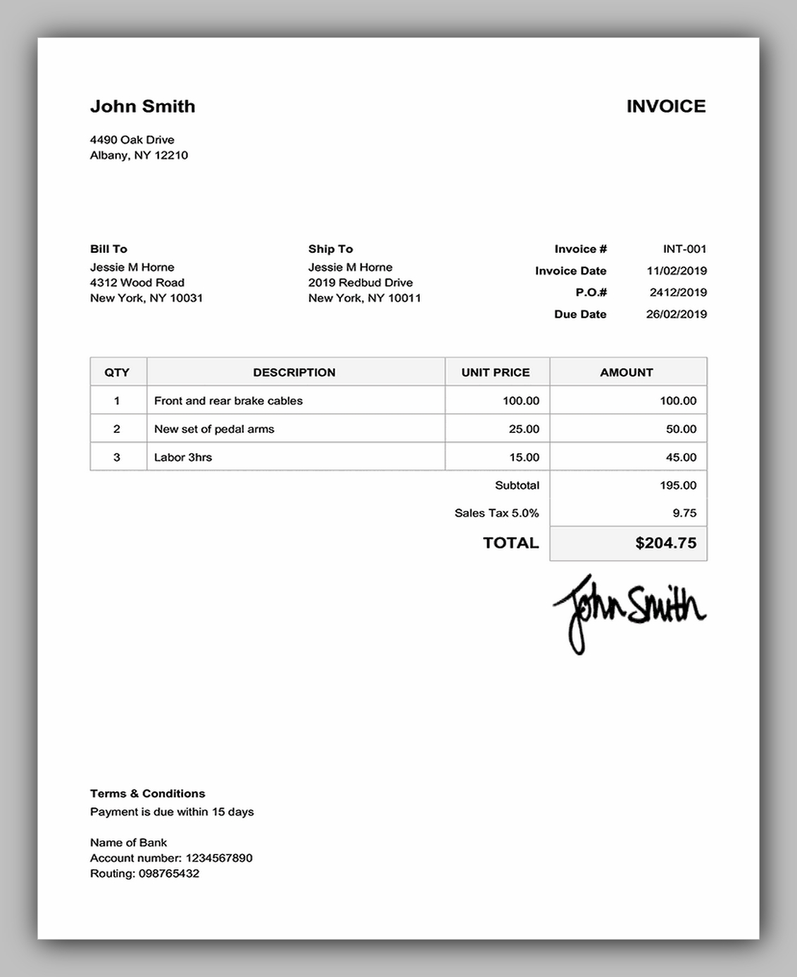 blank invoice template to print