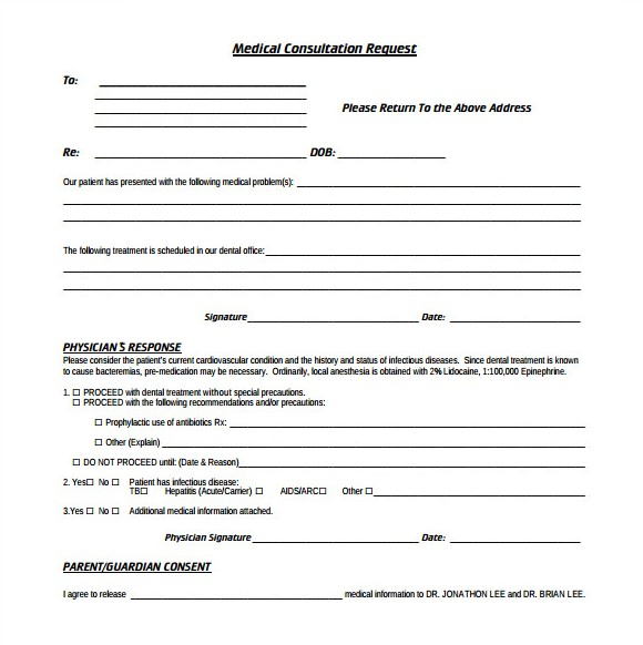 Medical Consultation Request Form