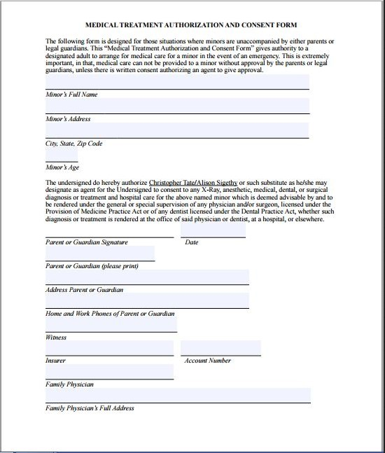 Medical treatment authorization and consent form