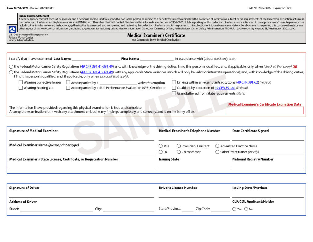 Form MCSA 5876 SAMPLE