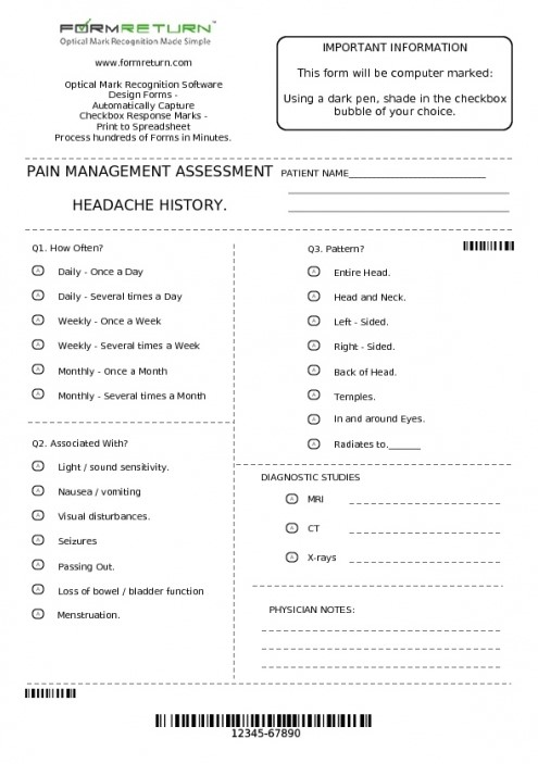 Medical Assessment A4 Form