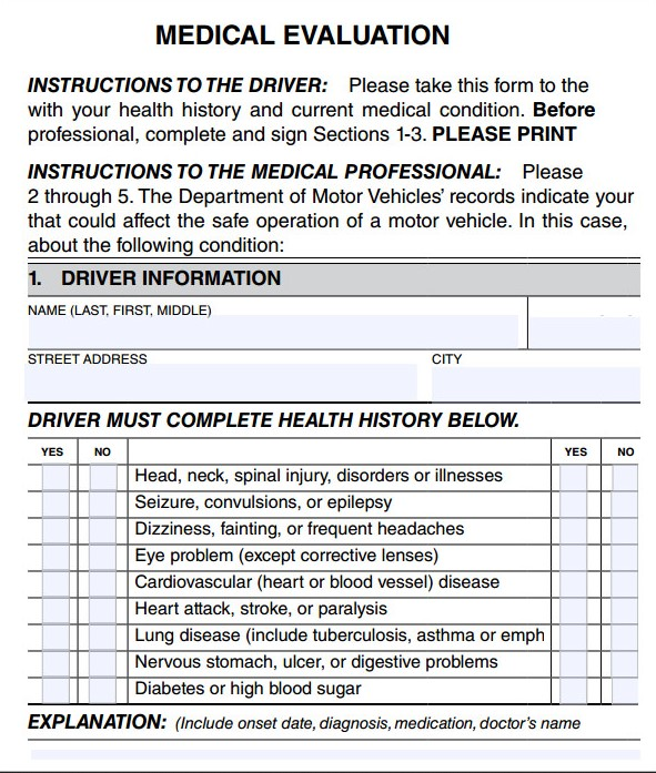 medical evaluation form