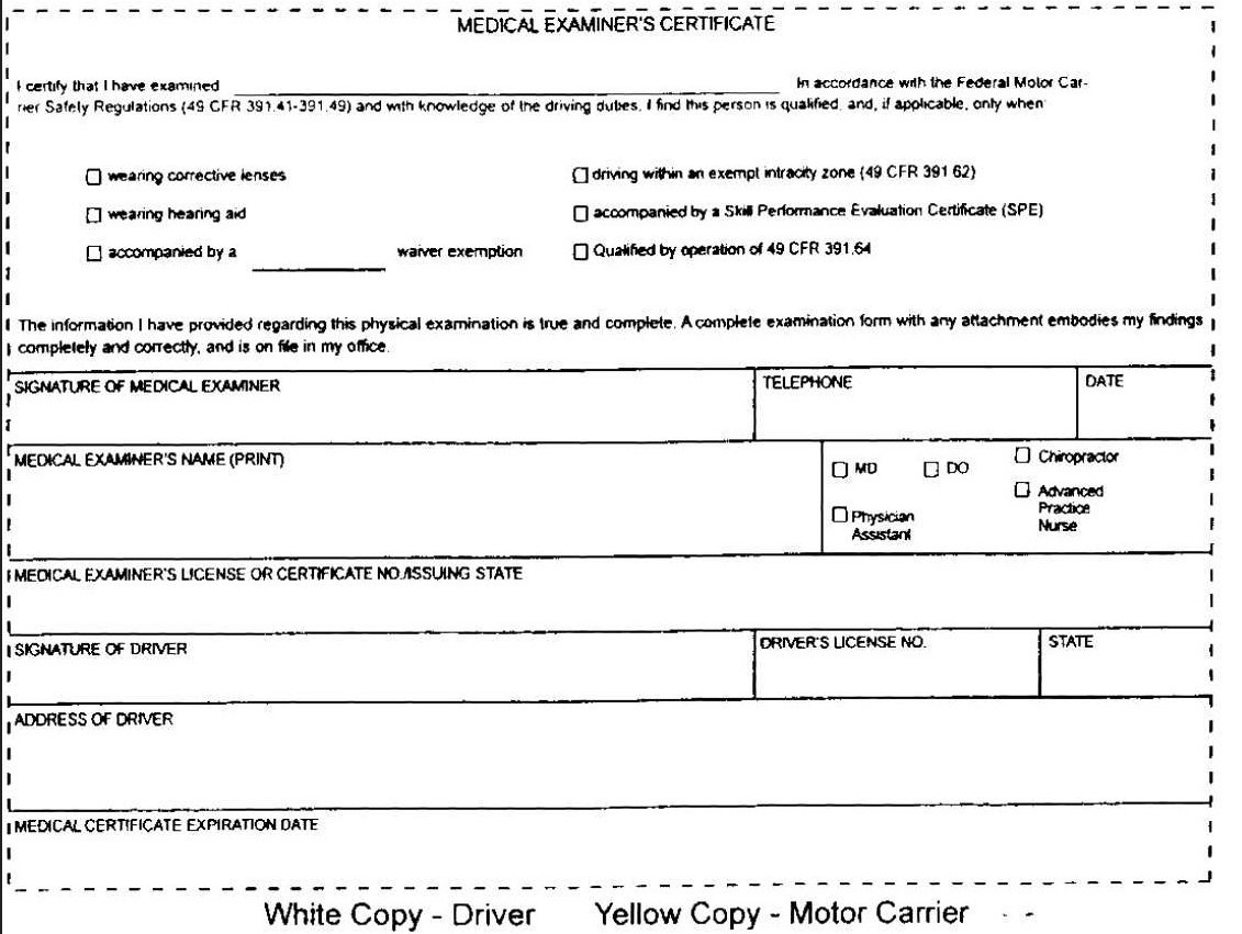 medical certificate examiner dot form physical