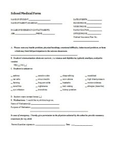 school medical form