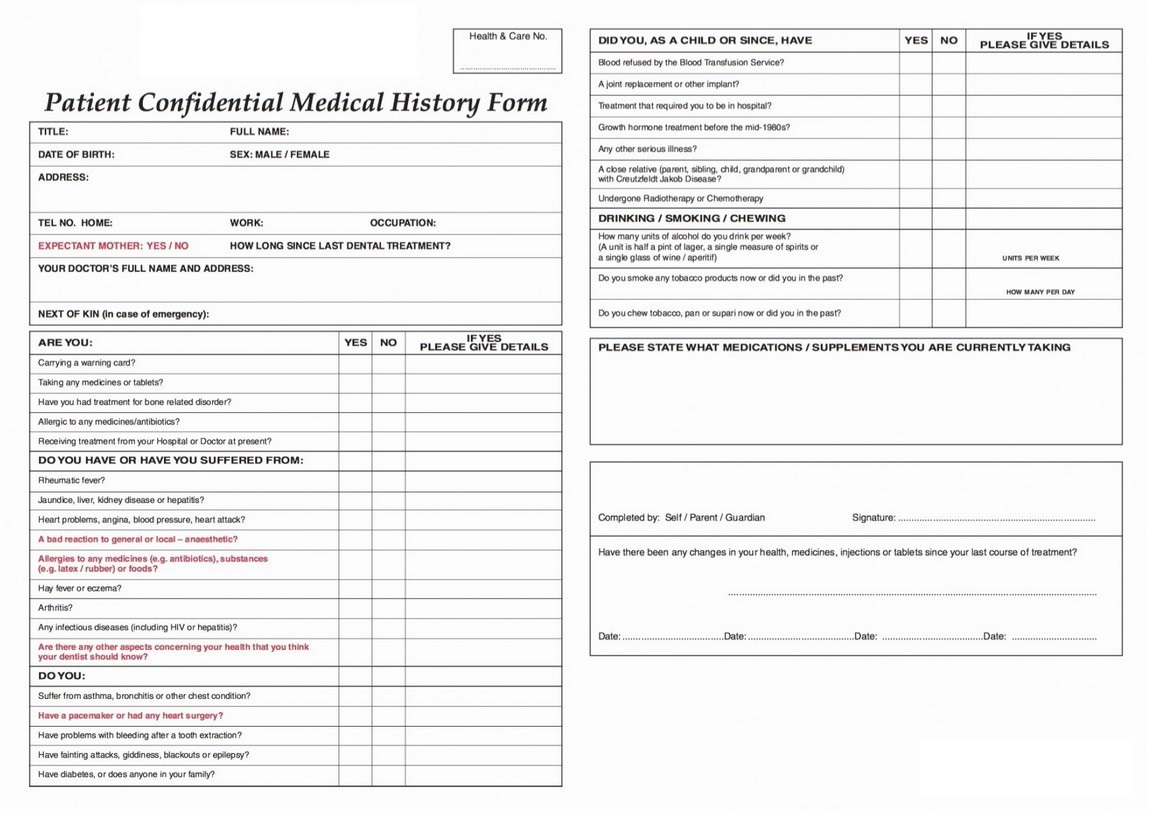 Patient Confidential Medical History Form