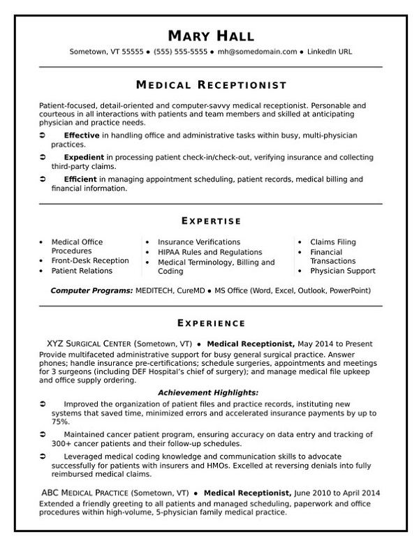 Receptionist family medical history form