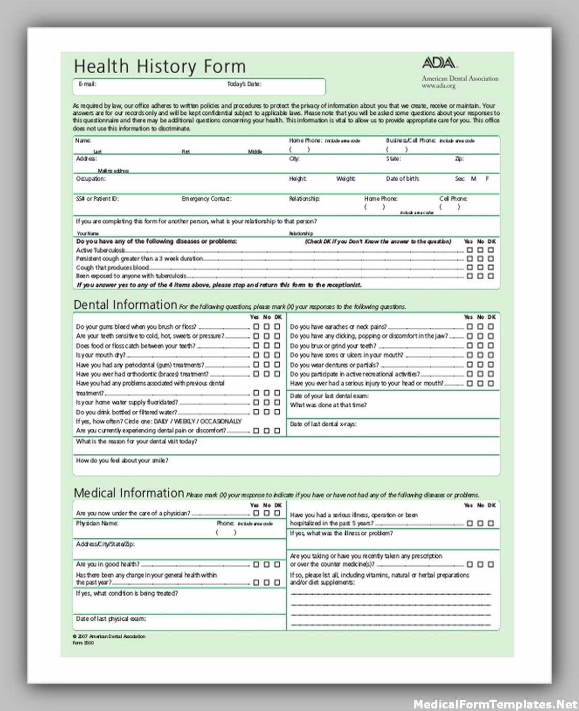 medical history form for dental office