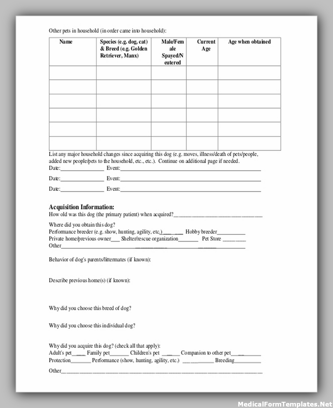 veterinary medical history form