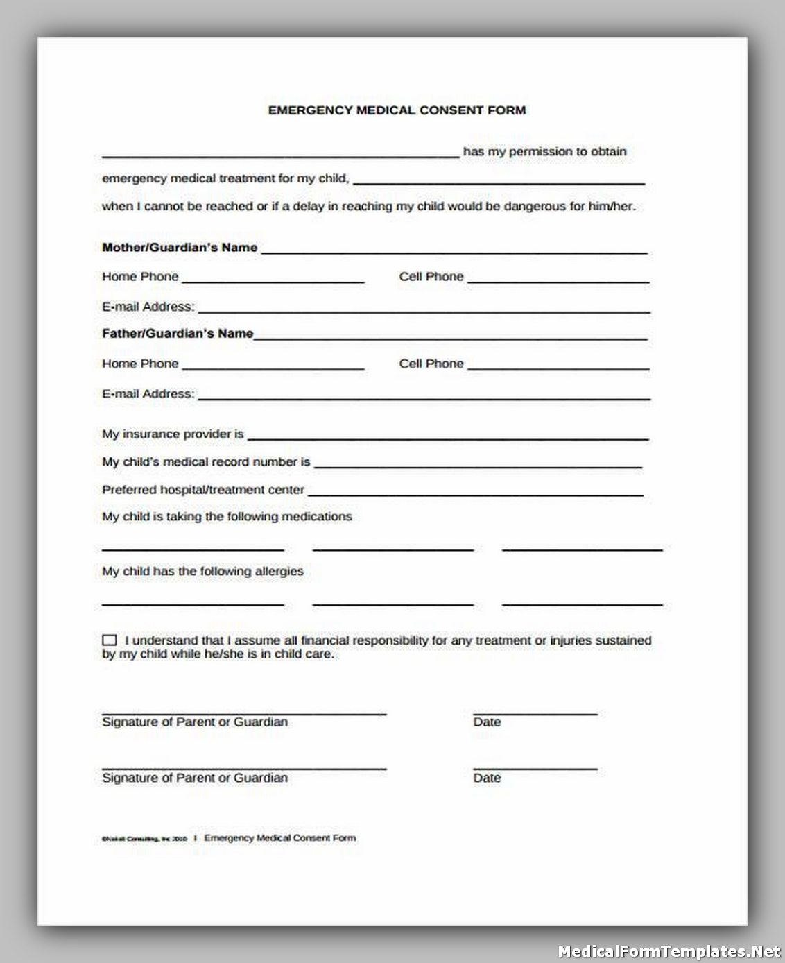 Emergency Medical Concern Form