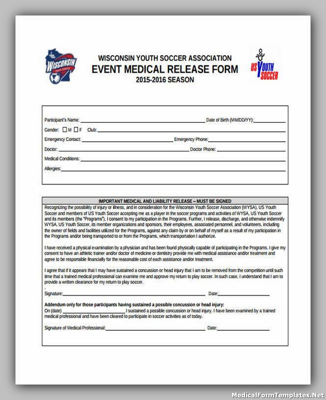 Event Medical Release Form