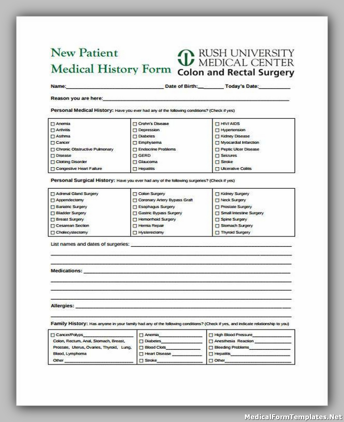 Free Printable Medical History Form
