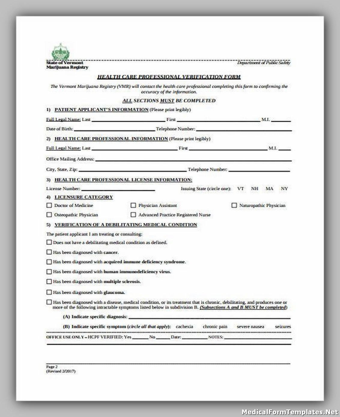 Healthcare Professional Verification Form