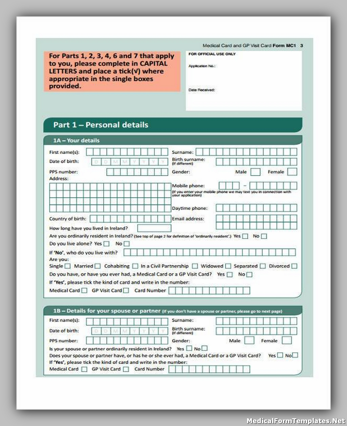 Medical Application Enrollment Form