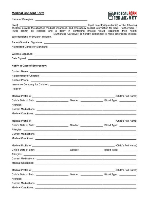 Medical Consent Form Free