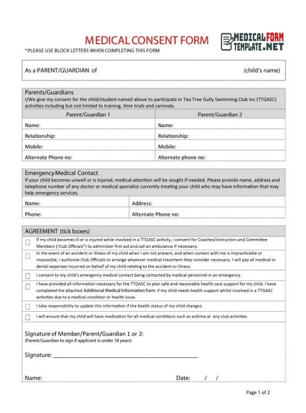 Medical Consent Form Format