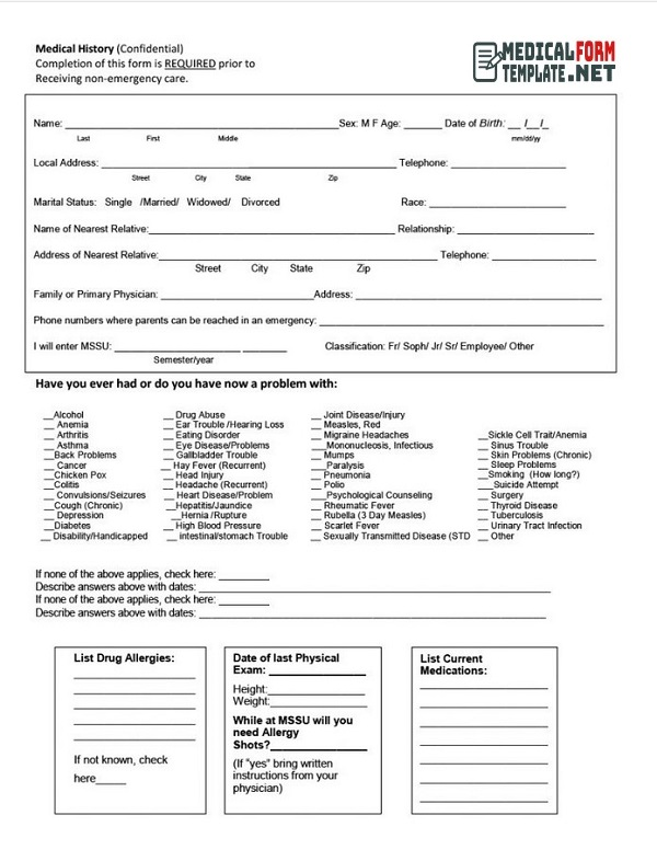 Medical History Form Printable 09