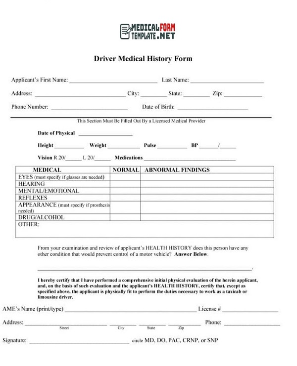 Driver Medical History Form