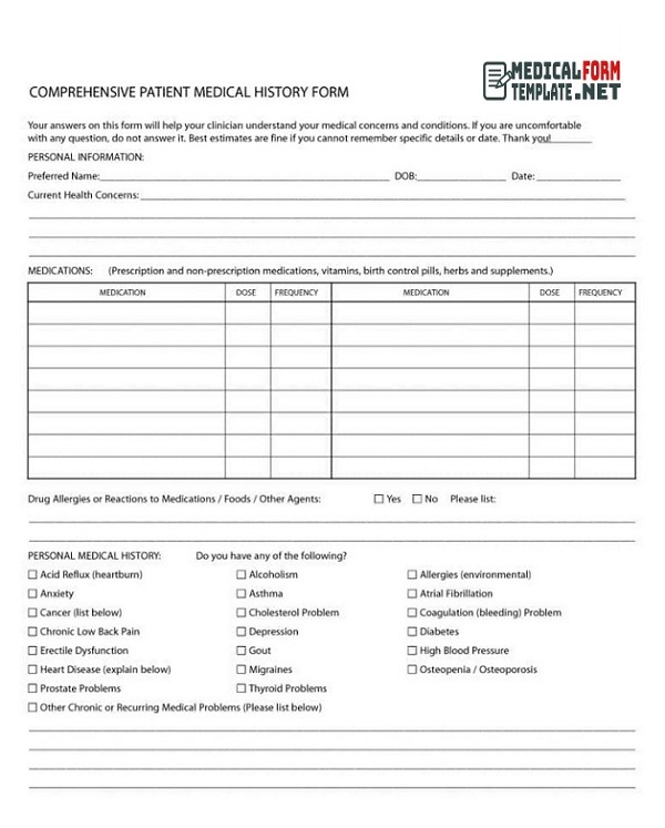 Medical History Form Printable 20