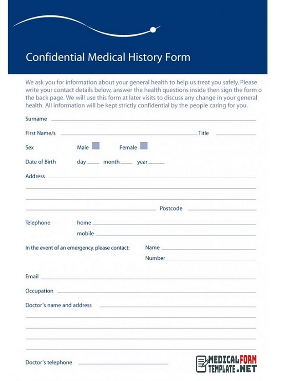 Confidential medical history form printable