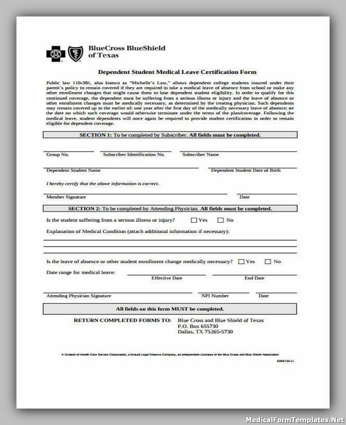 Medical Leave Certification Form