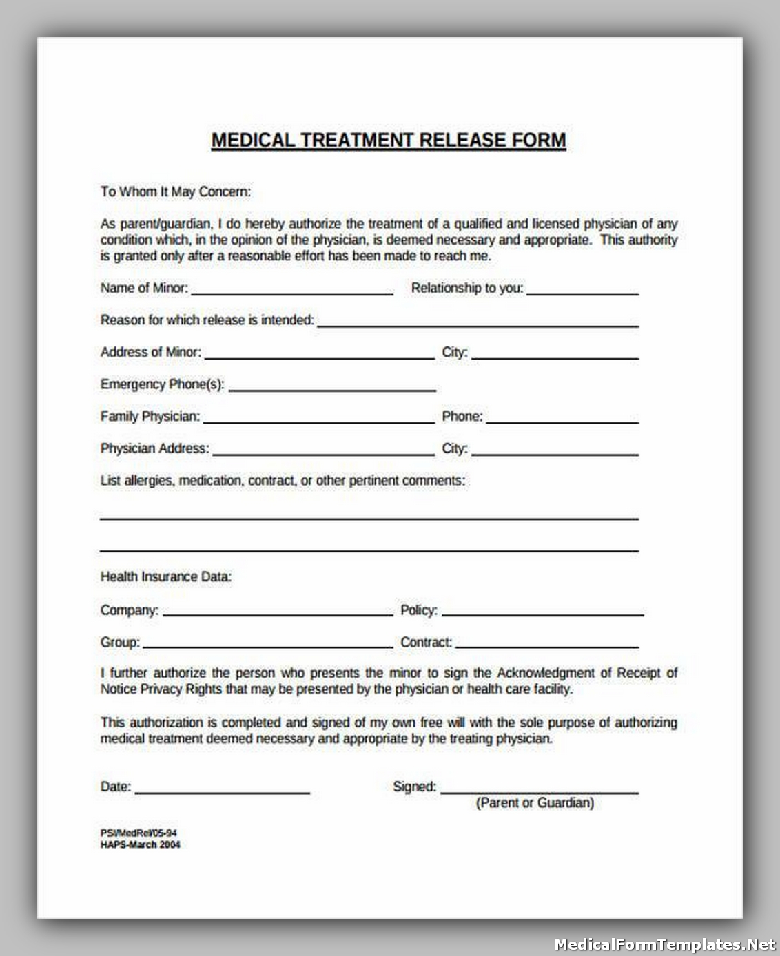 Medical Treatment Release Forms1