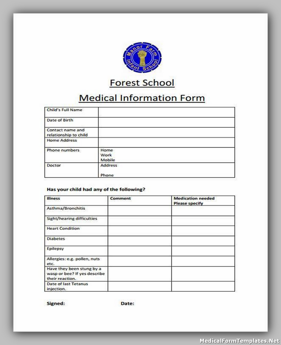 School Medical Information Form