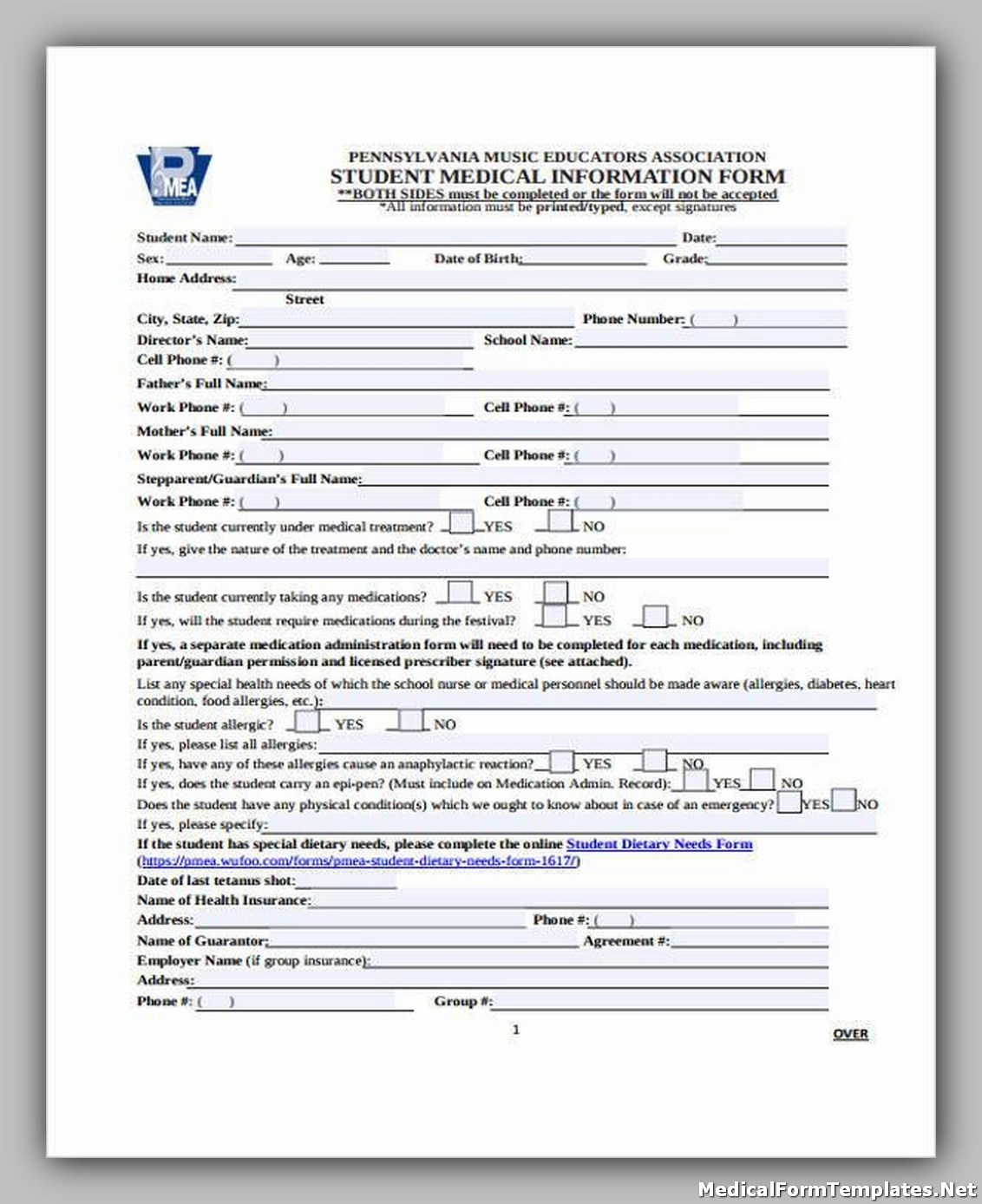 Student Medical Information Form1