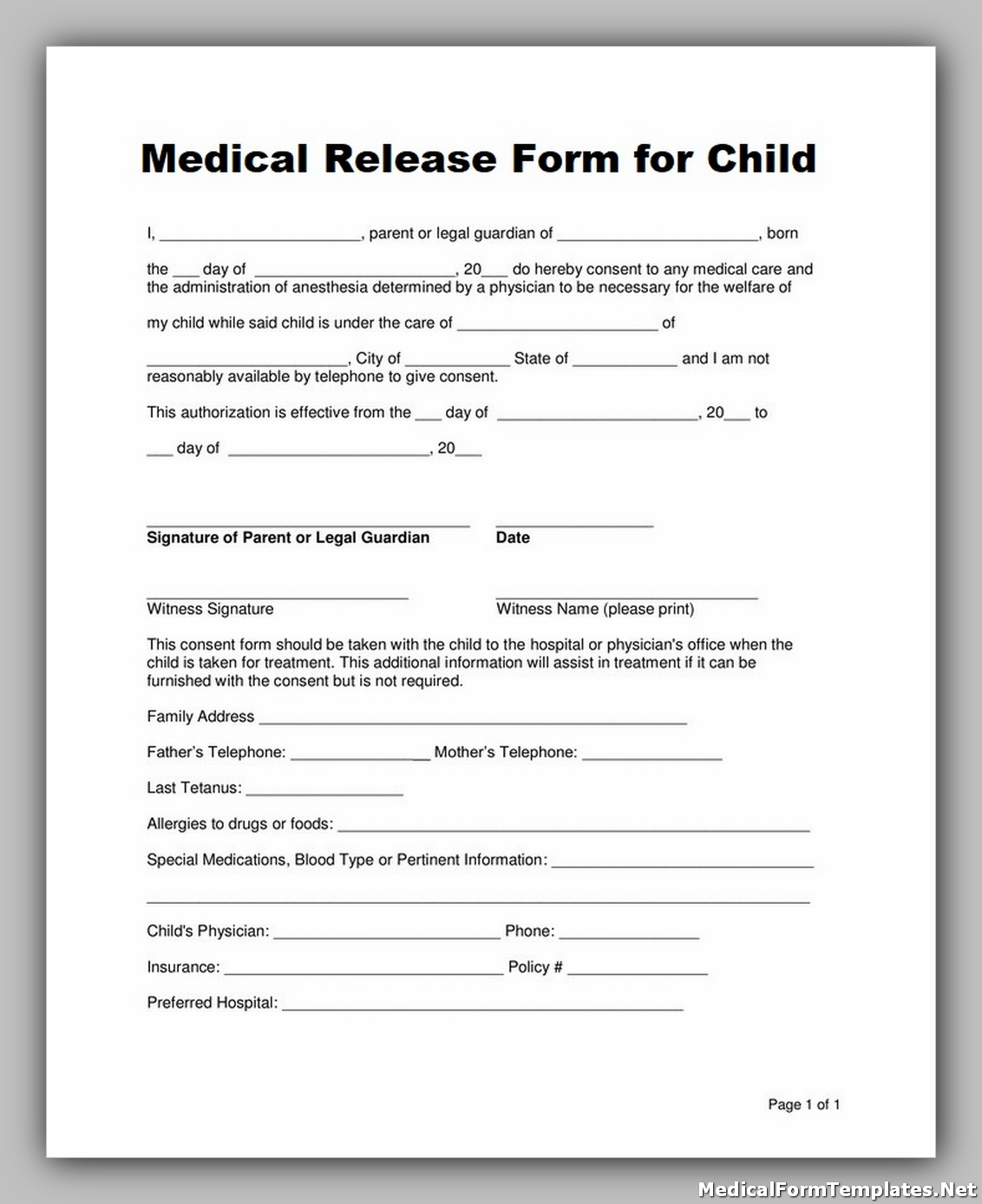 medical release form for child