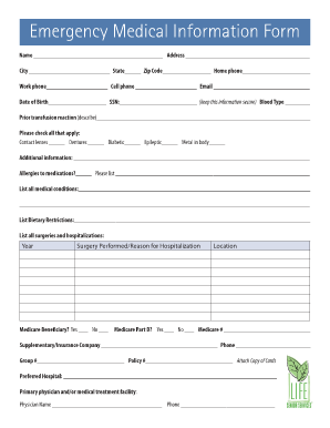 Fillable Online Emergency Medical Information Form Fax Email Print