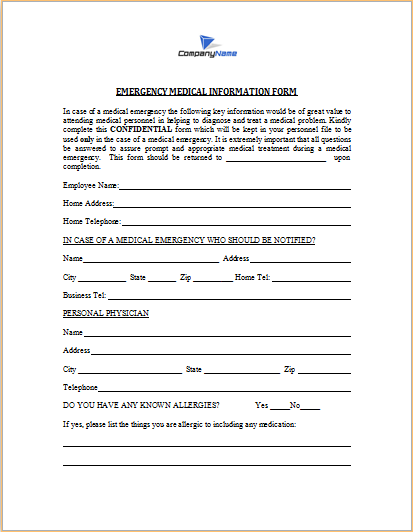 Emergency Medical Information Form Word Templates