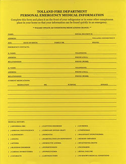 Medical Information from The Tolland fire Department, Inc.