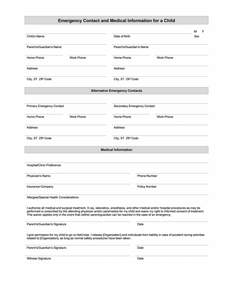 Child's emergency contact and medical information Office Templates