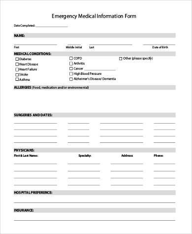 Emergency Medical Information Form PDF