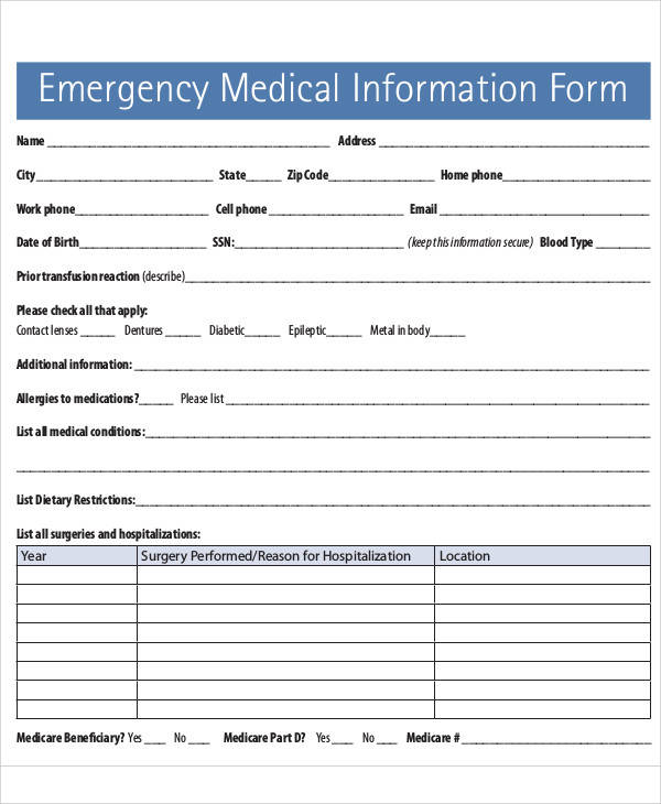 Printable Emergency Medical Information Form