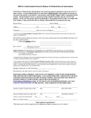 HIPAA Medical Form
