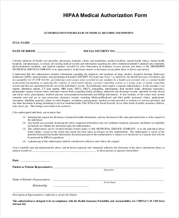 Hipaa Release Of Information Authorization Form Fill Online
