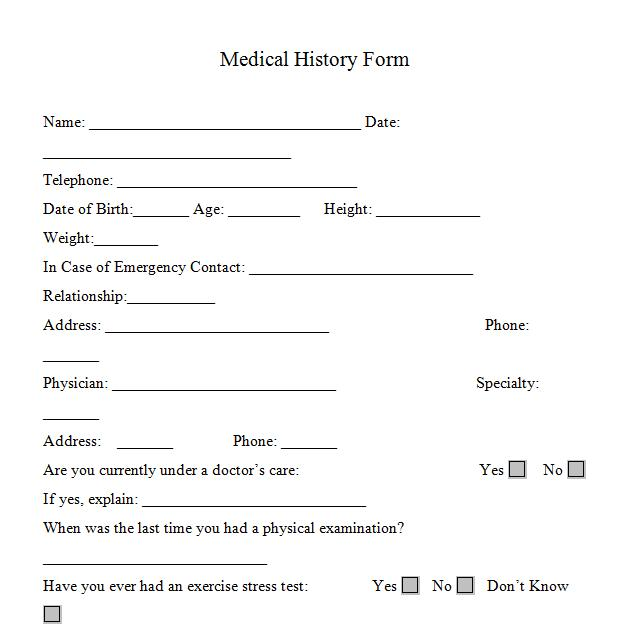 Medical History Form Printable