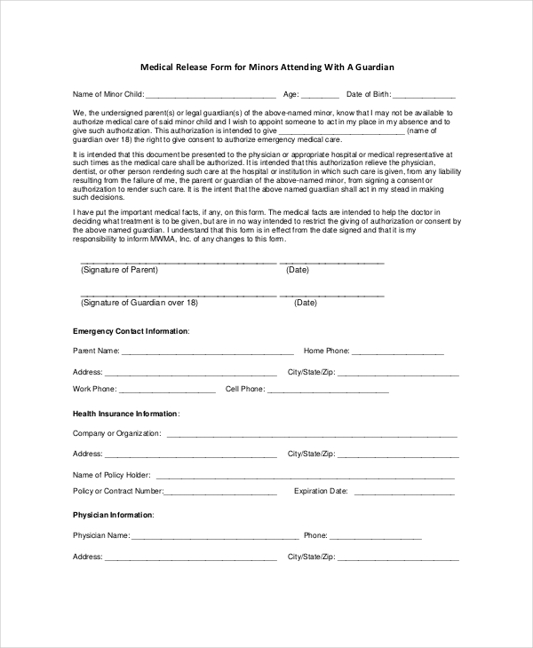 sample medical release forms
