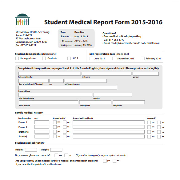 Sample Medical Report Template PDF