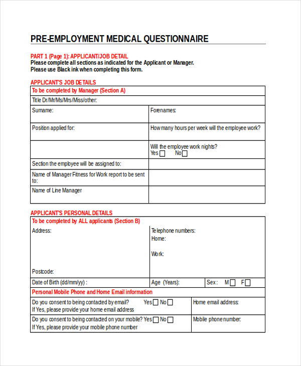 Sample Medical Questionnaire Form 9+ Free Documents in Word, PDF