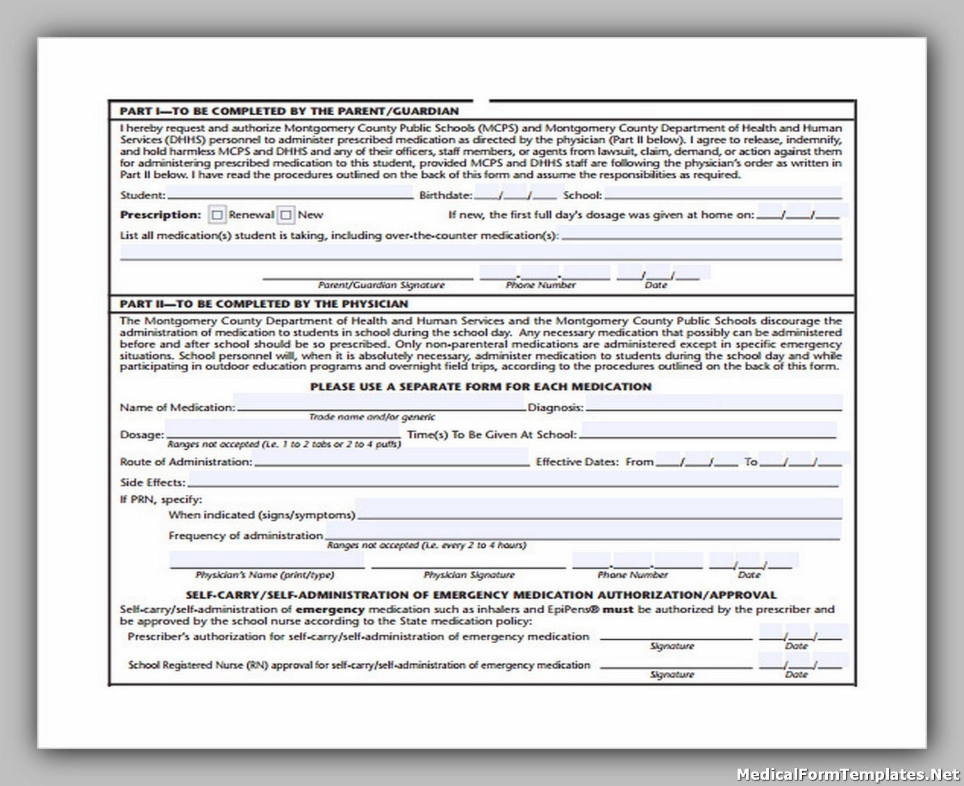 Sample of School Medical Form