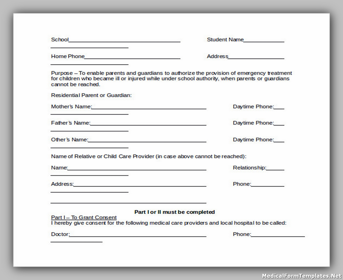 School Emergency Medical Form