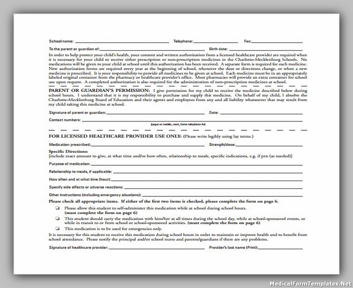 School Medical Authorization Form to Download