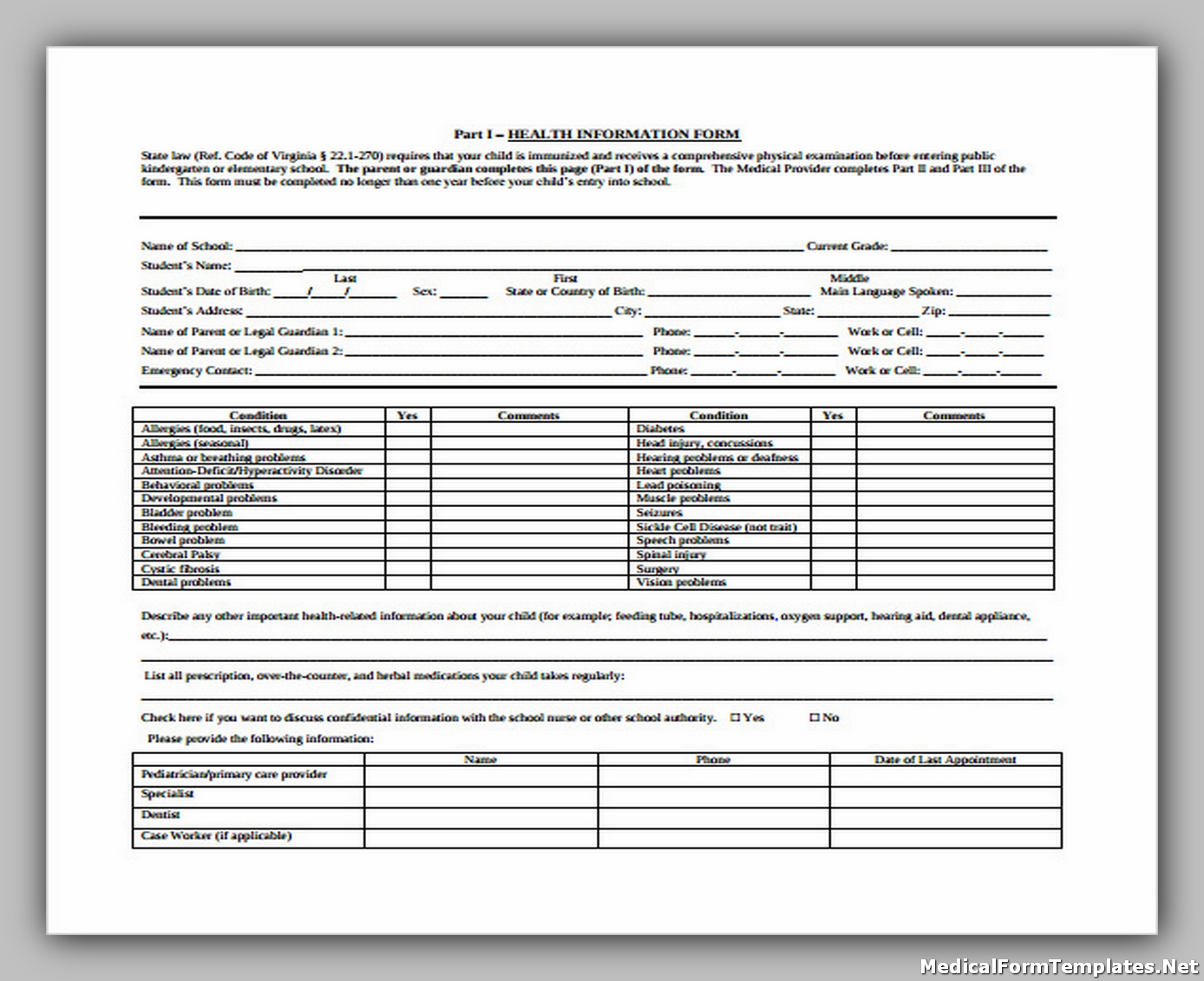 School Medical Entrance Form Free