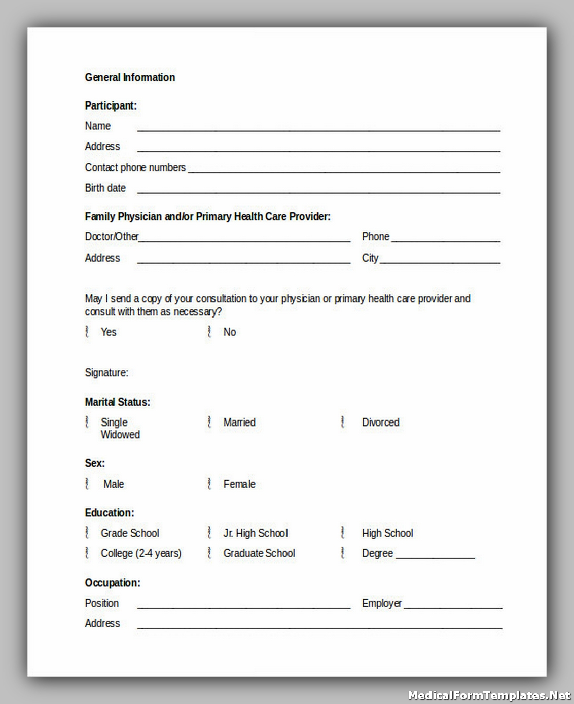 School Medical History Form