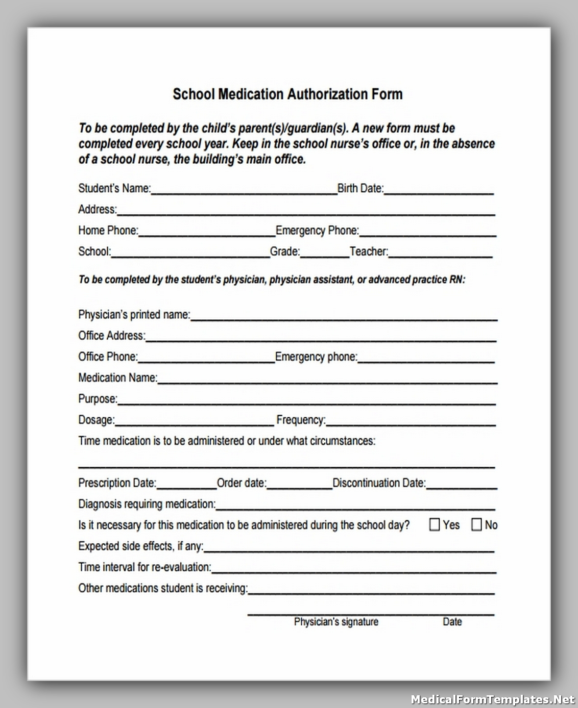 School Medication Authorization Form