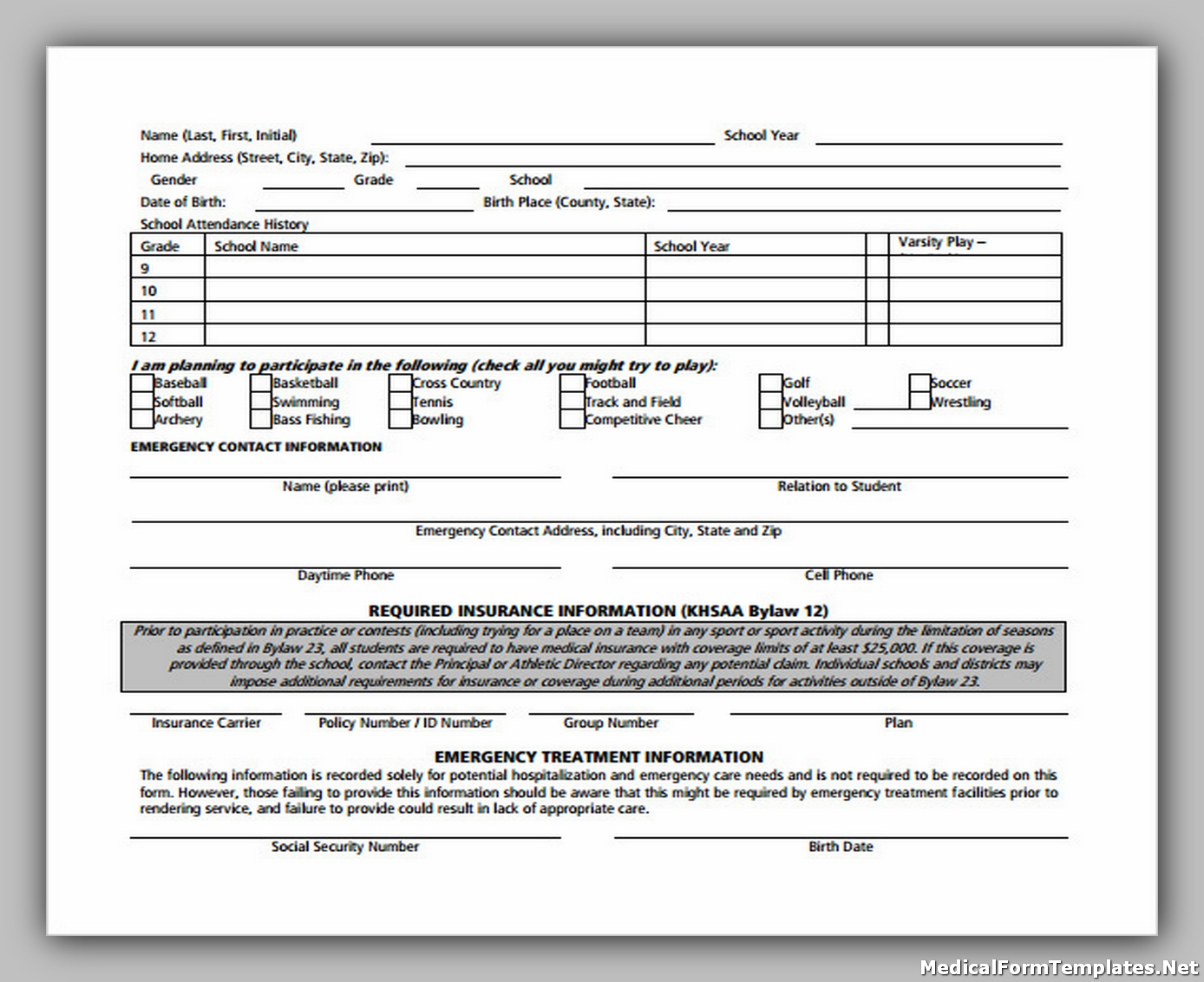 Student Medical Consent and Release Form