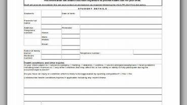 Student Medical Form for Excursion