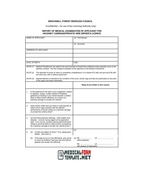 Taxi Drivers Medical Examination Report